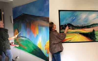 Venez admirer les toiles que Béatrix a réalisées sur les murs du deuxième étage du Domaine de Cabasse